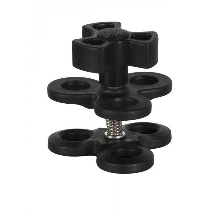 Pinza de Acople Triple para Union de Brazos de Rotulas de 25 mm Tapon Color Negro