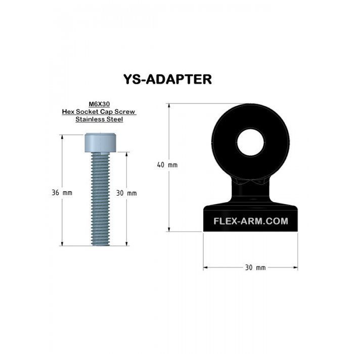 YS MOUNT  WITH M6 THREAD for Carbon Fiber Arms
