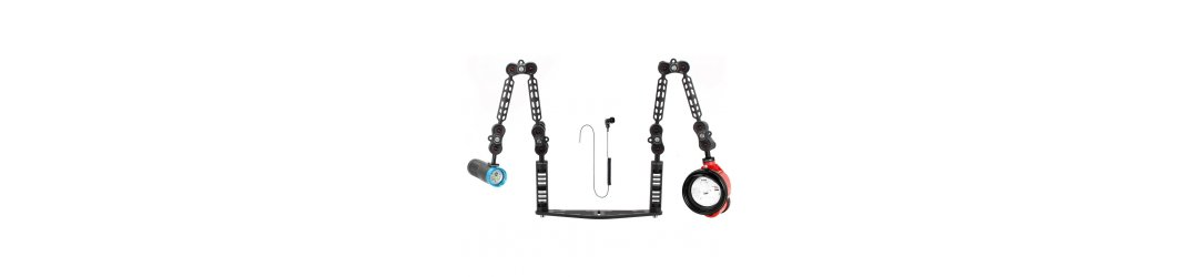 Underwater Tray Package with Inon D200 Strobe and Scubalamp PV32T Photo Video 3000 Lumen