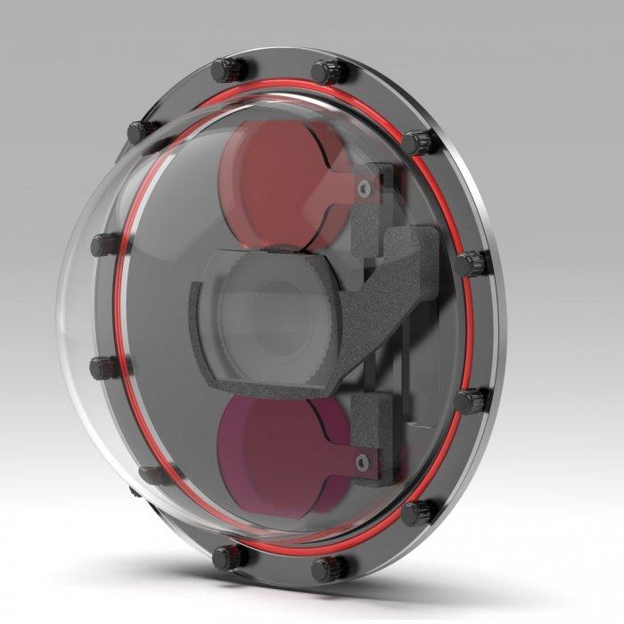 T-HOUSING DOME1 Custodia in Alluminio per Insta360 ONE R 1 Pollice