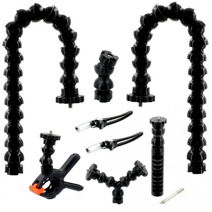 Kit Miniflex 1/2 Flexible Arm with Double Clamp for Macro Double Arms Pack
